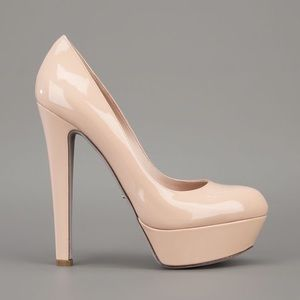 Nude fuax leather Heel Pumps Size: 8